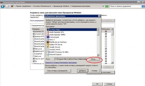 Выбор приложения которое будет добавлено в исключения брандмауэра Windows 2008 r2