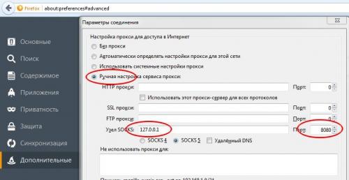 указываем локальный адрес нашего ПК 127.0.0.1 и порт туннеля 8080
