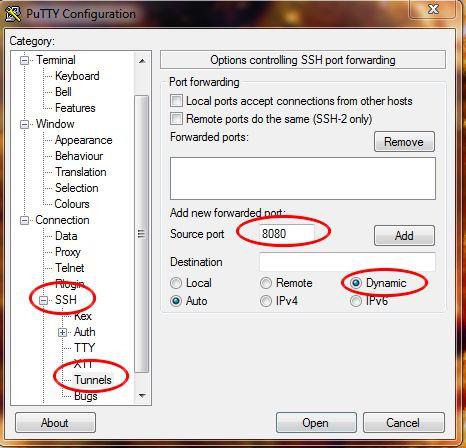 В разделе Connection->SSH->Tunnels указываем порт
