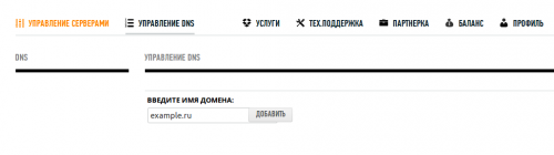 Добавление домена в раздел Упавление DNS
