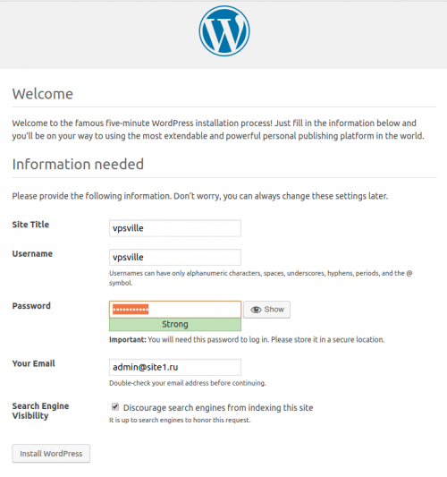Запуск установки Wordpress на VPS