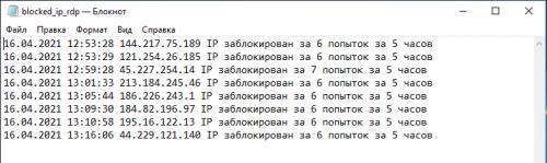 Лог работы сценария PowerShell автоматической блокировки Brutforce атак на RDP.