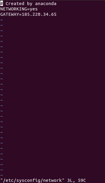 Изменение шлюза в операционной системе CentOS